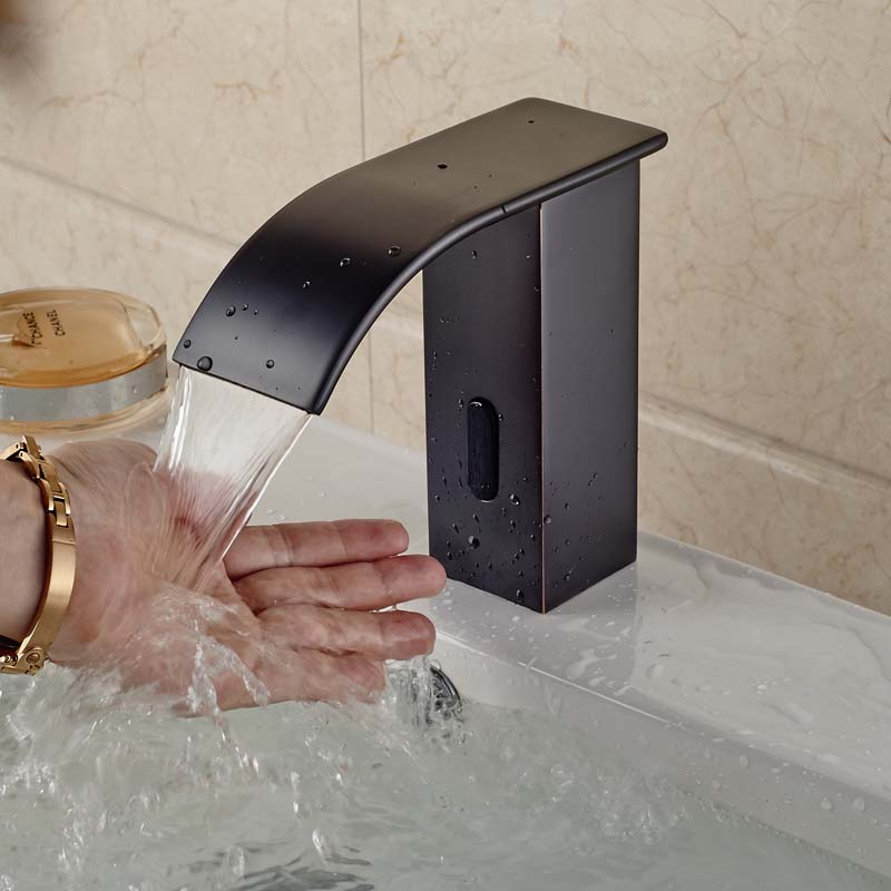 Free Shipping Waterfall Spout Automatic Touchless Sensor Faucet Battery Power Plug Cold Water Only