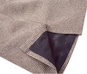 Image 4 - Flectit Fall Winter Warm Wool Houndstooth High Waist Pencil Midi Skirt Slim Knee Length Back Split Work Skirt Plus Size S  XXL