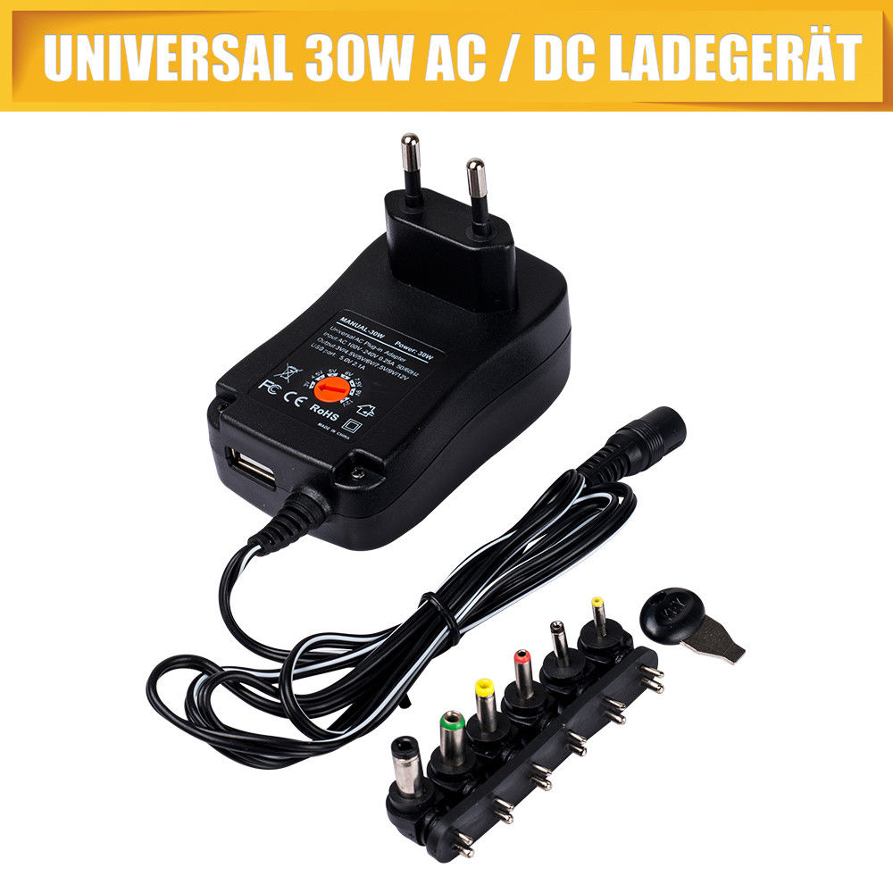 Universal Netzteil AC//DC 3V 4,5V 5V 6V 7,5V 9V 12V 1000mA 110-240V 6 Stecker
