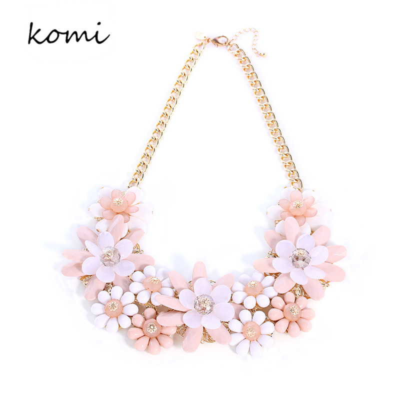 New komi fashion pink flower necklace crystal beads mutli flowers new komi fashion pink flower necklace crystal beads mutli flowers women statement necklaces pendants gold color chain n 058 in pendant necklaces from mightylinksfo