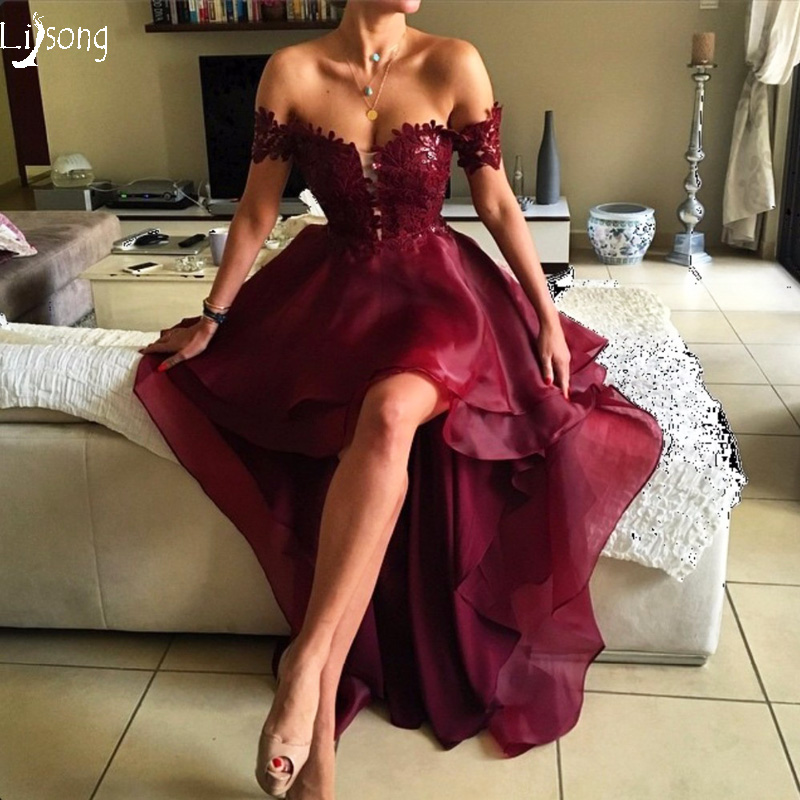 Burgundy High Low Organza Women   Prom     Dress   Vestido de Noiva Elegant Homecoming Birthday Formal Maxi Gowns Open Back Vintage Gown