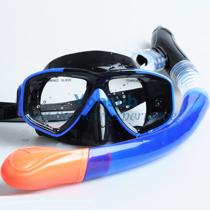 double lens diving mask and full dry snorkel set scuba diving quality tempered glass myopia snorkel set adult scuba diving mask gopro camera mount dry diving set deepgear brand scuba snorkel gears