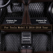 New Logo Leather Car Floor Mats For Tesla Model S 2014 2015 2016 2017 2018 Custom Foot Pads Automobile Carpet Covers