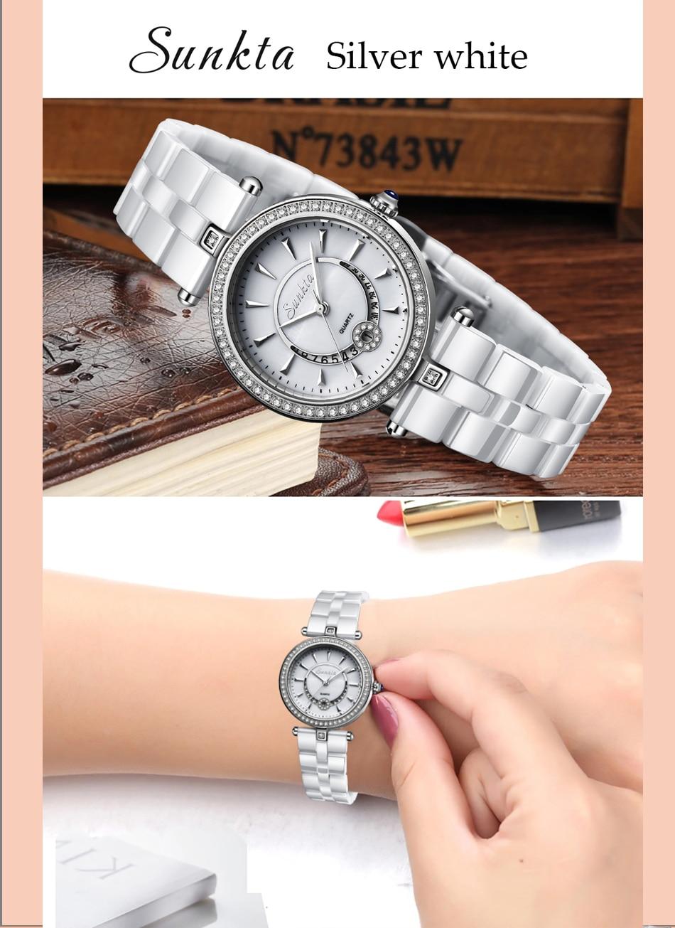 SUNKTA Quartz Mulheres Relógios Cerâmica Relógios Mulheres