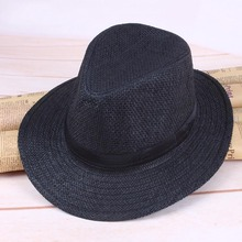 54b1121008a 2018 Summer Casual Unisex Beach Trilby Large Brim Jazz Sun Hat Panama Hat  Paper Straw Women