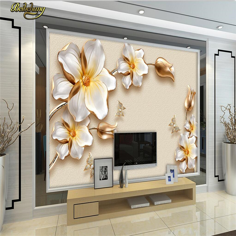 beibehang Custom Photo Wallpaper Mural Wall Stickers 3D Luxury Gold Flower Jewelry TV Wall Background Wall papel de parede xchelda custom modern luxury photo wall mural 3d wallpaper papel de parede living room tv backdrop wall paper of sakura photo