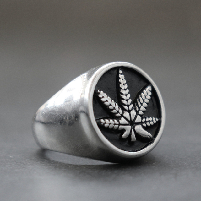 Unique Silver Color Pot Leaf Weed 316L Stainless Steel Statement Ring Mens Fashion Punk Biker Jewelry