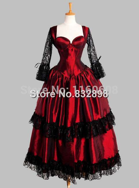 Gothic Black and Red Corset Top Thai Silk Victorian Theater Dress