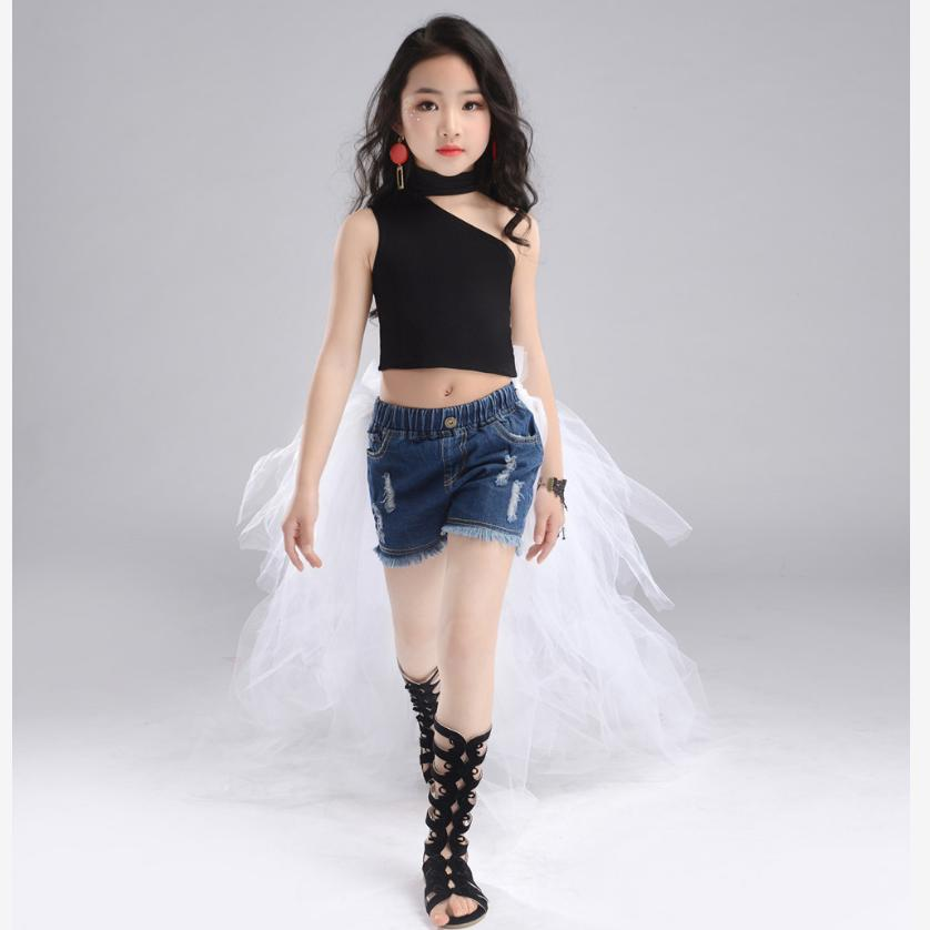 Children Sets Girls Fashion Catwalk Costume One-shoulder top + denim shorts (with removable trailing ) Modis Kids Clothes Y1386