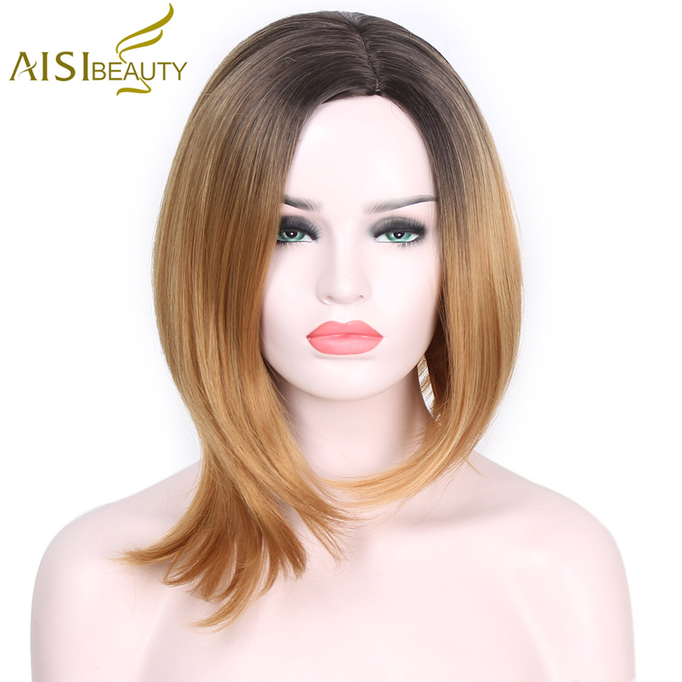 AISI BEAUTY Short Straight Blue Brown Hair Dark Roots Synthetic Wigs For Black Women Special Wig Different Length Side