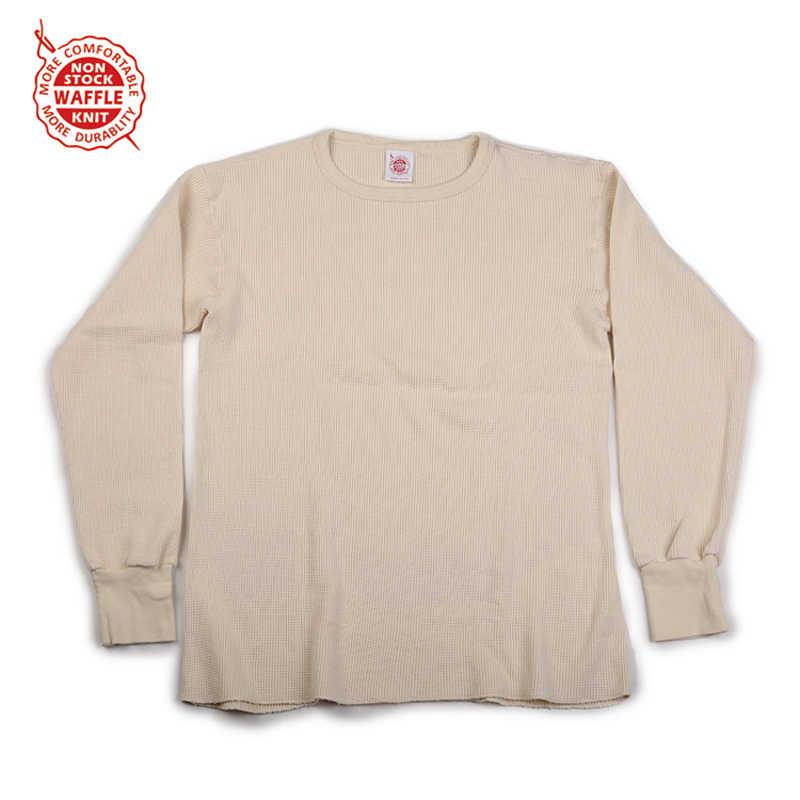 Non Voorraad Wafel Patroon Knit Tee Zwaargewicht Heren Lange Mouwen T-shirts Slim Fit