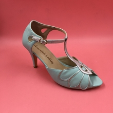 Mint Green Silver Wedding Shoes Women Sandals Stilettos High Heels Open Toe Real Photo Hollow Out Leaves True to US Size