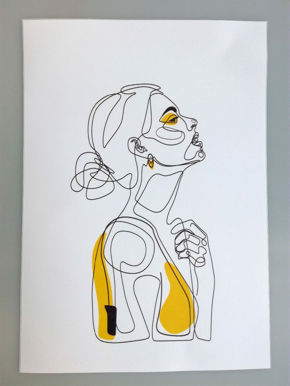 Figure line drawing abstract print art