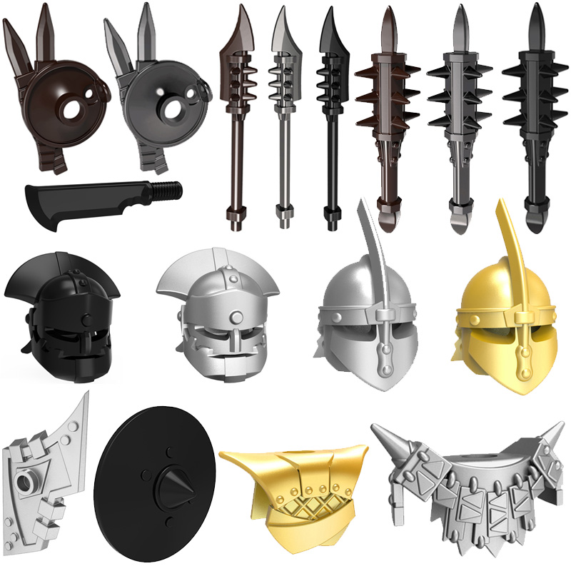 10pcs/lot Medieval Weapons Shield Helmet Middle Ages Rome Knights  MOC for Building Blocks Bricks Toys writing for literacy for ages 7 8