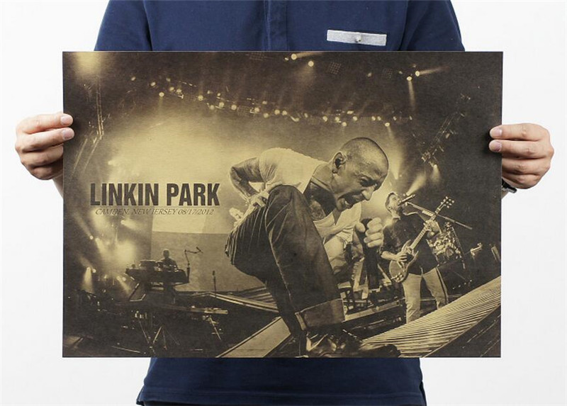 Vintage Classic Linkin Park Rock Band Poster Bar Cafe Home Decor Painting Retro Kraft Paper Wall Sticker 51x35cm