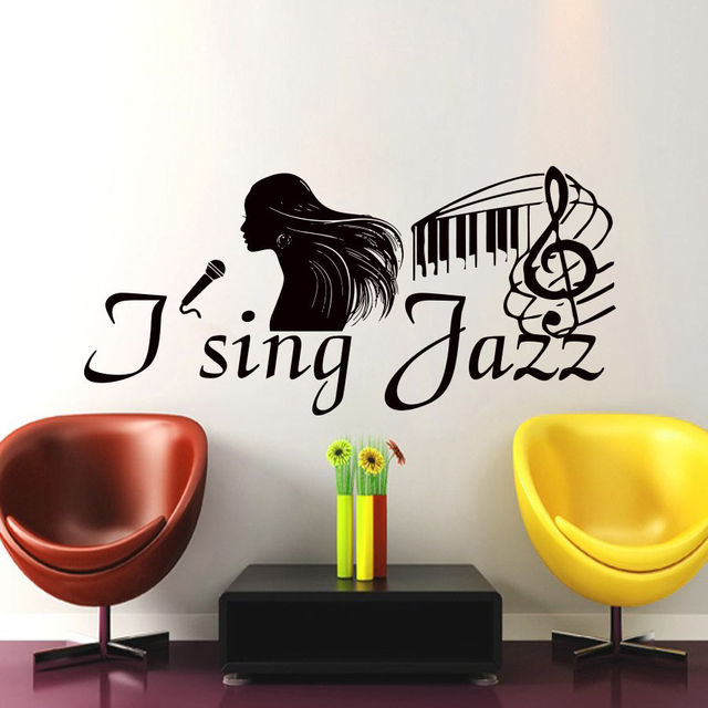 Wall decals i sing jazz decal vinyl stickers music art treble clef bedroom