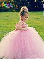 Flower Girl Tutu Dresses Wedding Easter Junior Bridesmaid Soft Pink Princess Girl Dress Children Clothes For Girls