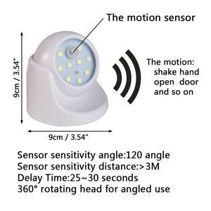 Image 4 - 9 led 360 度回転モーションセンサー pir 夜ライトバッテリ駆動廊下ウォール · ナイトランプクローゼットガレージ廊下