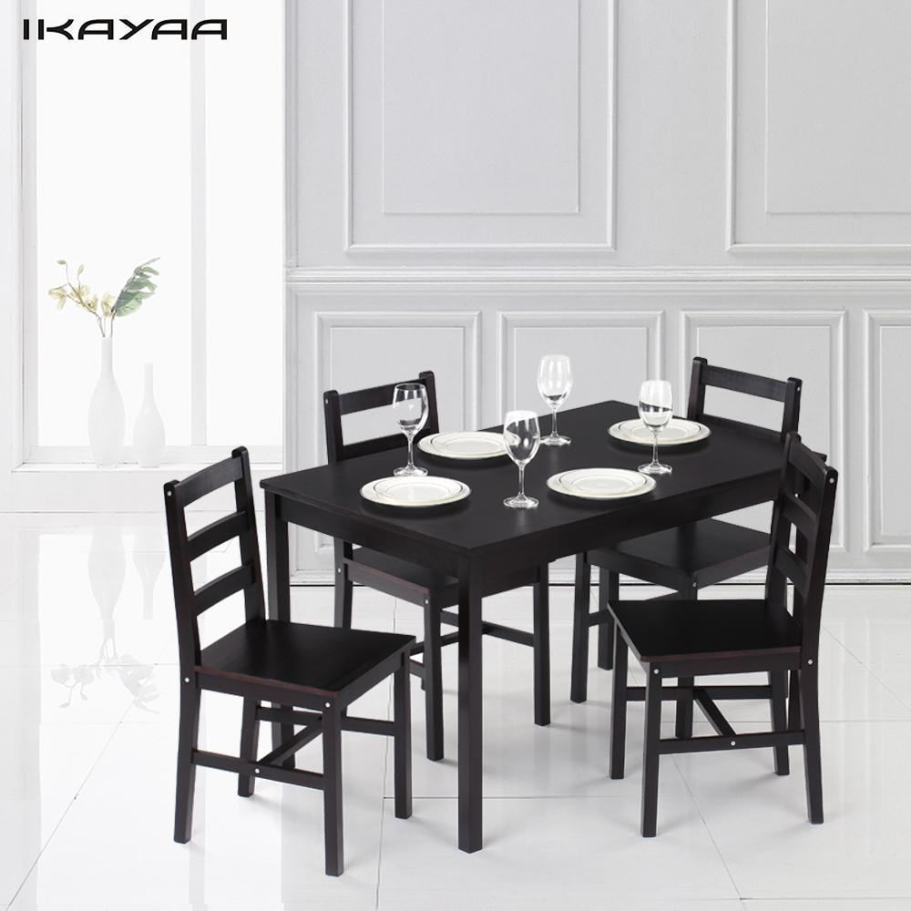 Ikayaa modern 5pcs pine wood dining table set kitchen for Contemporary kitchen dinette sets