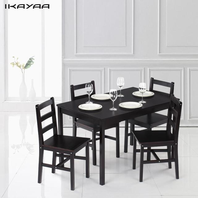 kitchen dinette set quartz countertops cost ikayaa modern 5pcs pine wood dining table with 4 chairs 150kg capacity
