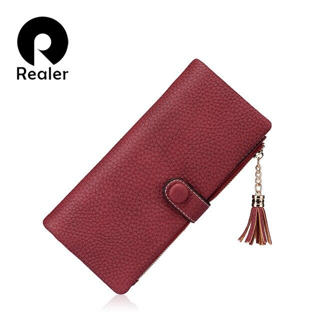 REALER brand new design women wallet long high quality women tassel clutch zipper wallets female multi card purse