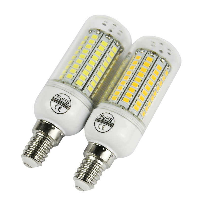 High Bright LED E14 Bulb Lamp Corn 220V 110V 2835 SMD 102 LED Ceiling Spot Light Warm white ...