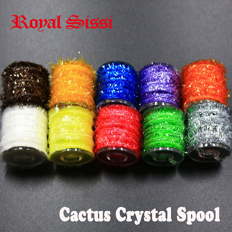 Royal Sissi 10spools multi Colors spooled cactus Tinsel Chenille yarn Crystal Flash strip nymphal bugs scud fly tying materials