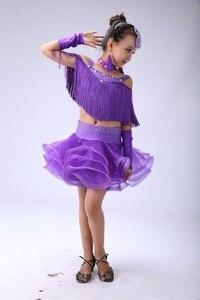 Image 4 - Kids Sequins Tassels Latin Dance Competition Dress Girls Salsa Cha Cha Samba Gymnastics Practice Party Dancing Dresses Costumes