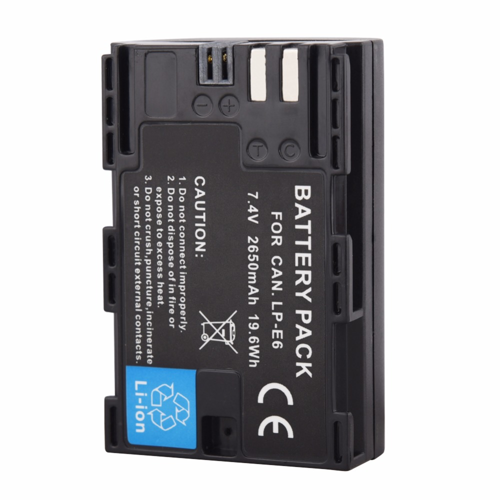 1PCS 2650mAh LP-E6 LP E6 LPE6 Camera Battery For Canon EOS 5DS R 5D Mark II Mark III 6D 7D 60D 60Da 70D 80D DSLR EOS 5DS