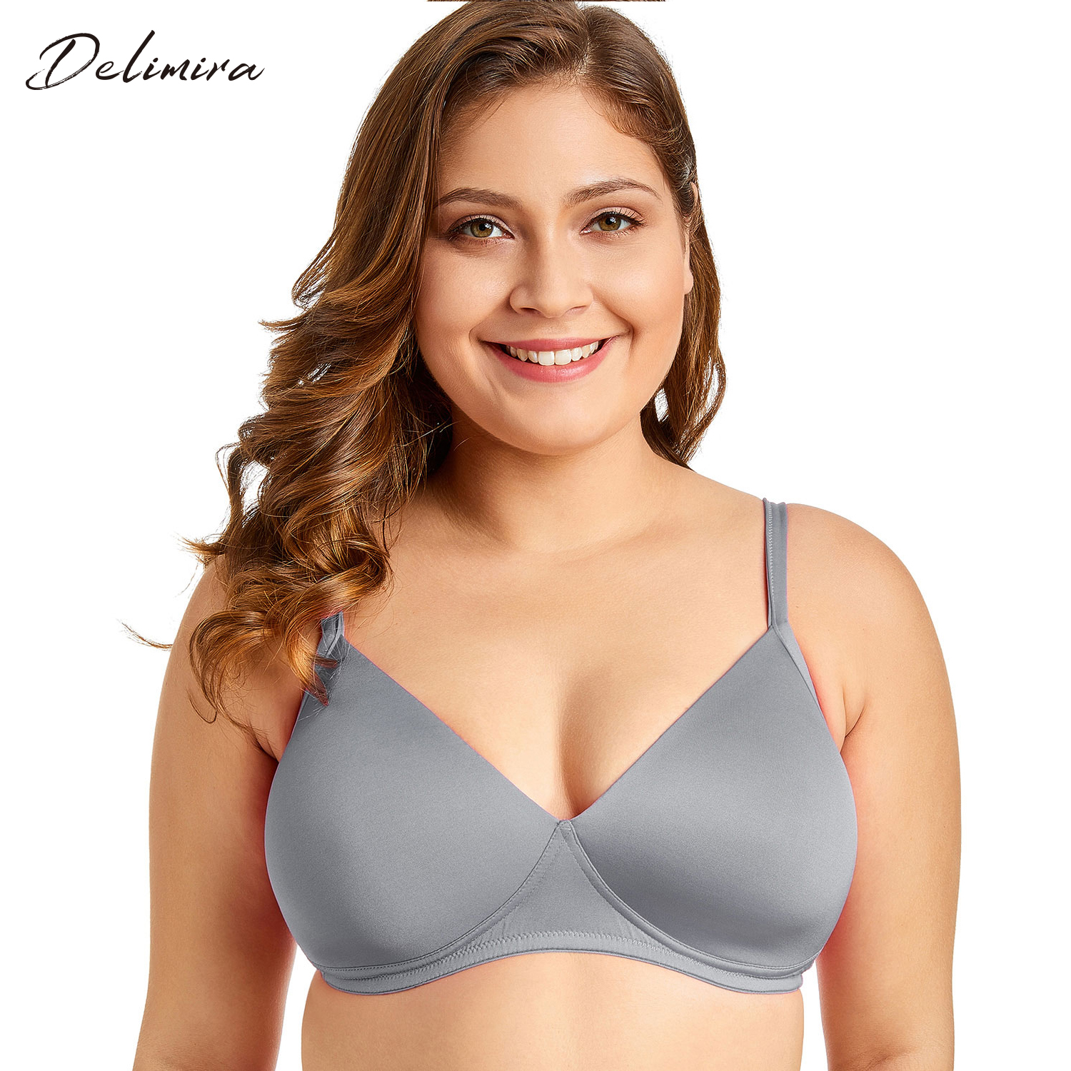 Delimira Women's Smooth Sexy Full Coverage Wire-Free Lightly Padded Triangle Contour T-shirt Bra