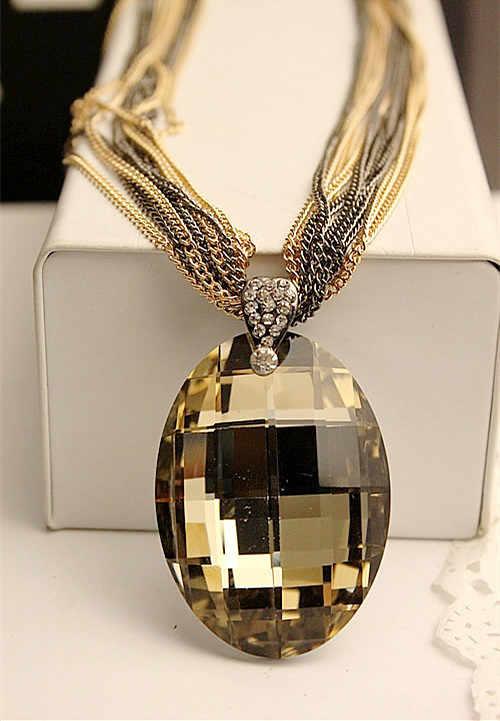 ¡Venta al por mayor! ¡Nuevo! collar con colgante de cristal de gafas ovaladas Vintage dorado/Negro, collares de cadena larga de múltiples cadenas para mujeres XHP076