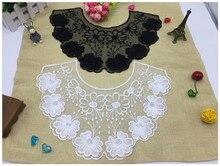 1PC Hot Sale Lace Floral Embroidered Neckline Neck Collar Clothes Trim Sewing Applique Trims Apparel Fabric Lace