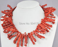 Free Shipping Rare Natural Coral Necklace 10 50mm Irregular Knitted Bamboo Shaped Red Gothic Sarcandra Coral Jewelry CRN005
