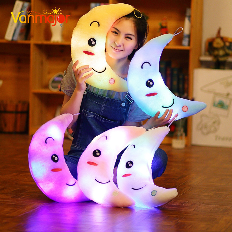 Vanmajor ใหม่ 35 เซนติเมตรที่มีสีสันดวงจันทร์รูปร่างของเล่นตุ๊กตาส่องสว่างเรืองแสงไฟ LED หมอนนุ่มยัดไส้น่ารักเด็กของเล่นของขวัญวันเกิด