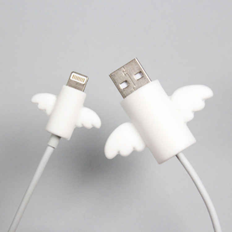 2Pcs/Lot Cute Angel Wing Cable Protector Earphone USB Cable Winder Wire Organizer Holder Clip Wrap Desk Set Stationary