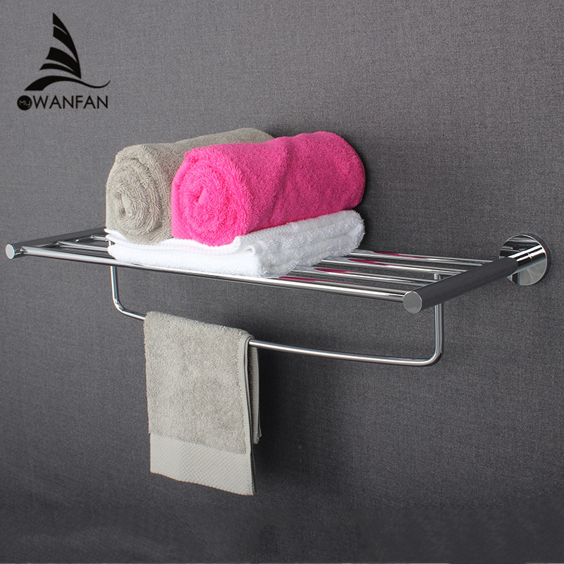 Bathroom Hardware Accessories Set Wall Mounted Chrome Polished Glass Shelves Towel racks Single Towel bar Bathroom Accessories wall mounted golden crystal bathroom accessories crystal bathroom shelves of blue and white porcelain racks