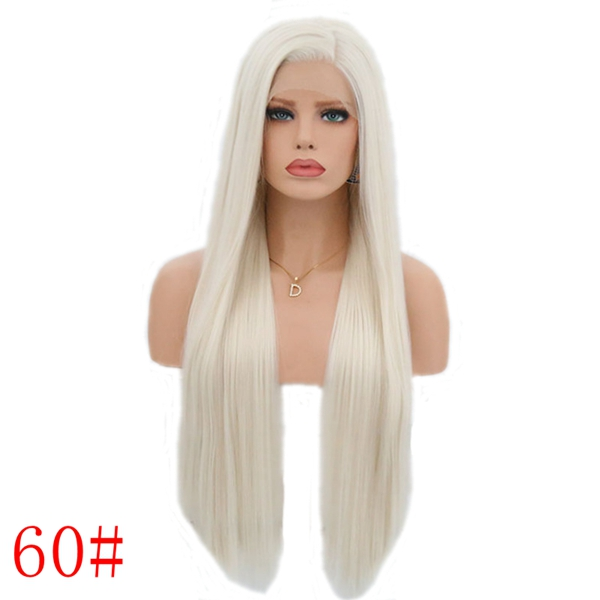 """Image 2 - JOY&BEAUTY 18"""" 26"""" Silky Straight Synthetic Lace Front Wigs #60 Blond 150% Density Heat Resistant Wigs With Natural Part Wig for-in Synthetic Lace Wigs from Hair Extensions & Wigs"""