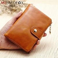 Oil Wax Cow Leather Short Women Wallets Luxury Small Bag Handbags Girls Purse Card Holder Pocket Female Male Day Clutch W114