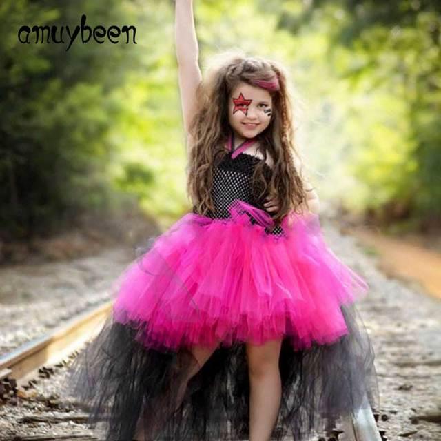 Traje de Halloween para los niños negro Rosa Cosplay Navidad Niñas ...