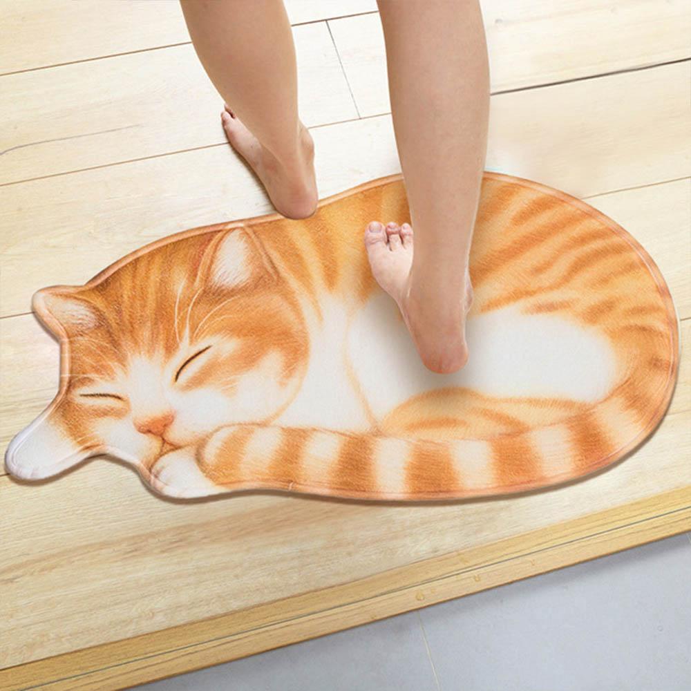 3D Cute Cat Floor Rug Irregular Doormat For Entrance Mats Animal Printed Carpets Anti-slip Floor Mat Kitchen Bath Mat Carpets