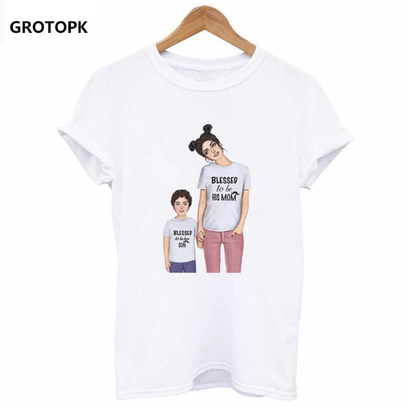 קוריאני סגנון נקבה חולצה אמא אהבת משפחה סדרת חולצה נשים של כותנה לבן חולצת טי אמא בת בן מודפס חולצת טי ווג