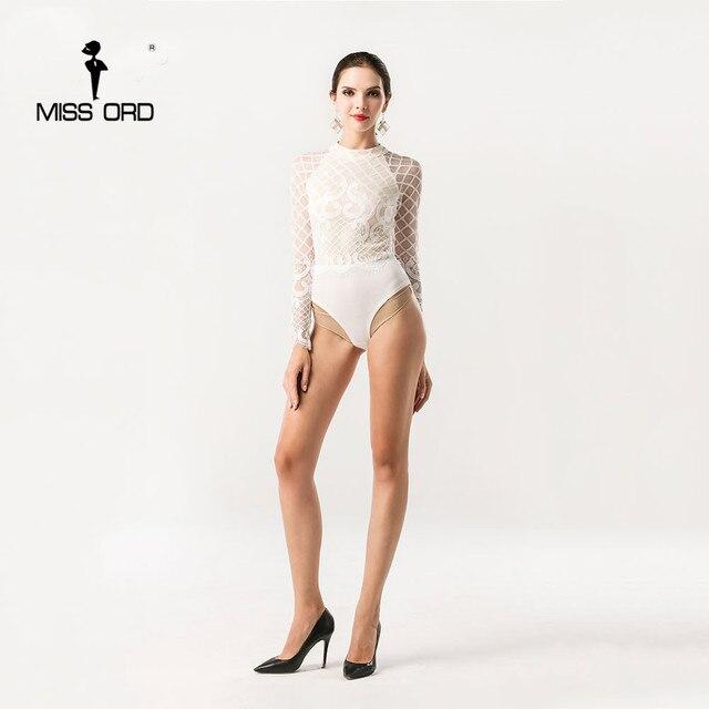 Missord 2017 Сексуальная О-Образным Вырезом с длинными рукавами Кружева шить комбинезон playsuit FT5191