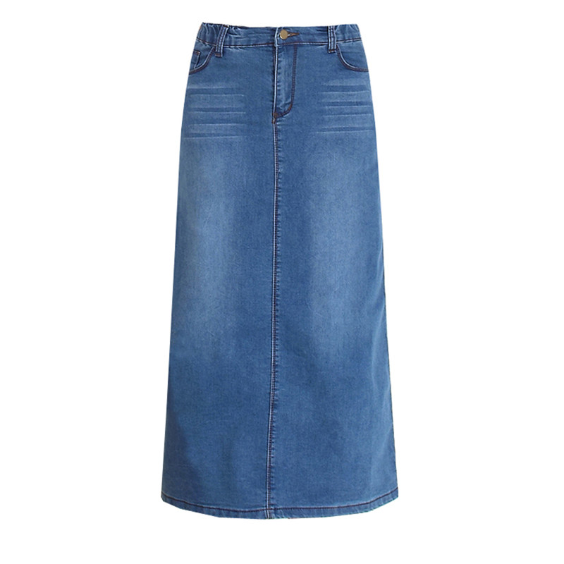 Free Shipping 2019 New Fashion Elastic High Waist Long A-line S To 2XL Plus Size Denim Jeans Spring And Summer Style Women Skirt