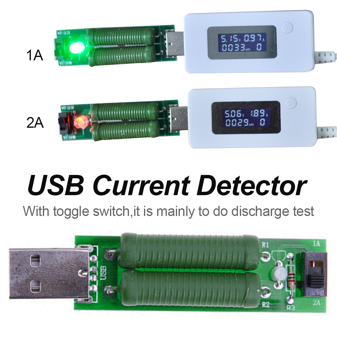 USB Mini resistor dc electronic load With switch adjustable 5V1A/2A battery capacity voltage discharge resistance tester
