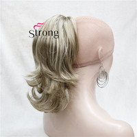 12 Dual Use Wavy Styled Clip In Claw Ponytail Hair Extension Blonde Synthetic Hairpiece With A