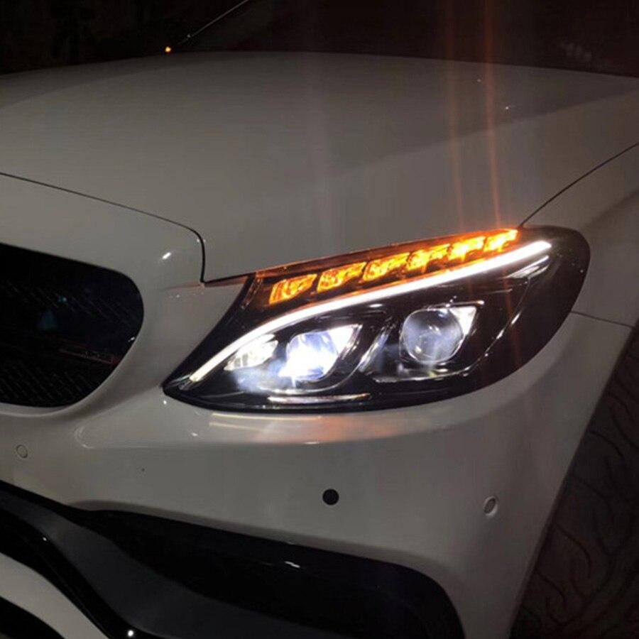 2 pièces LED phares pour Benz W205 c-class 15-18Car LED lumières Double lentille xénon accessoires de voiture feux de jour antibrouillard