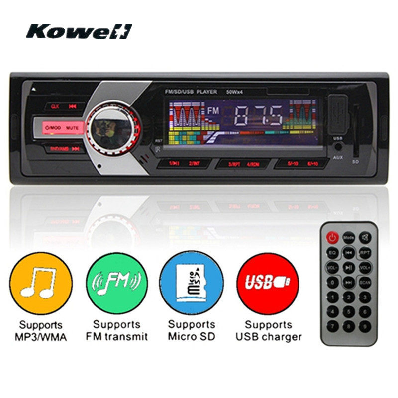 12v Red LCD Screen 1Din Stereo FM AM Car Radio Car Audio Radio Cassette Recorder LCD Panel Fascias USB SD Card WMA MP3 Player