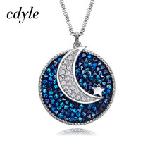 Cdyle Crystals from Swarovski Moon Star Pendant Choker Necklace For Women Jewelry Paved Blue crystals Round Shaped Necklace(China)