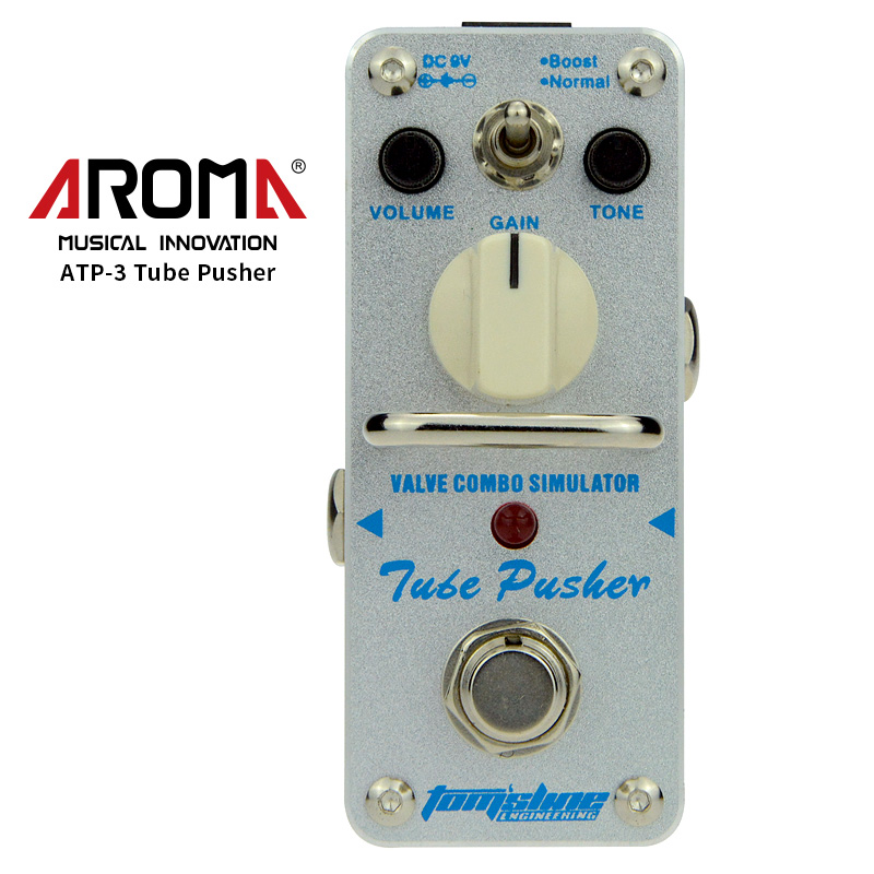 AROMA ATP-3 Guitar Effect Pedal Tube Pusher Valve Combo Simulator Electric Guitar Effect Pedal Mini Single Effect True Bypass aroma aov 3 ocean verb digital reverb electric guitar effect pedal mini single effect with true bypass guitar parts