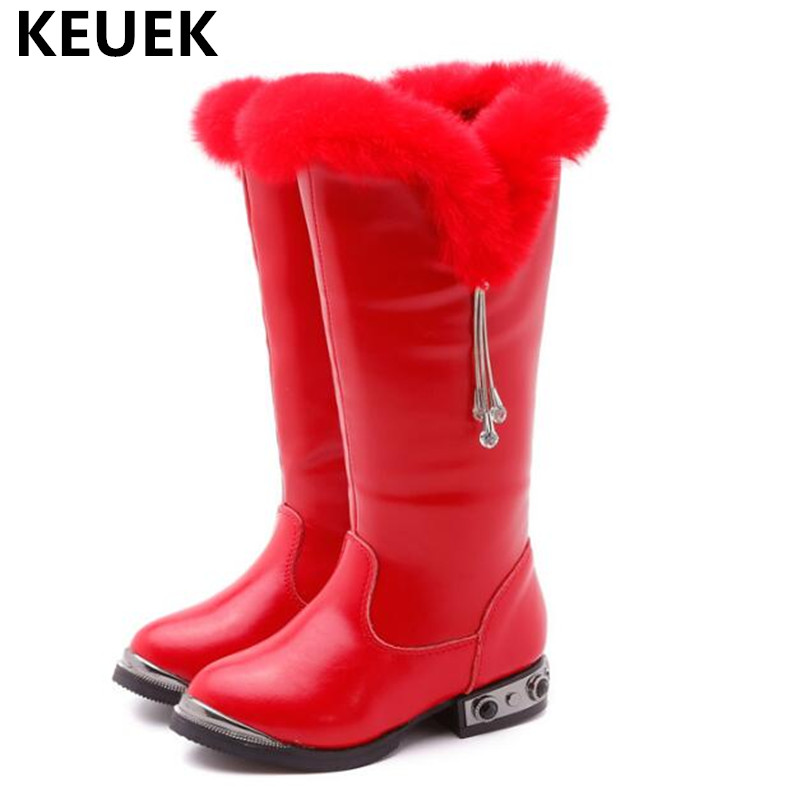 New Children Winter Knee-High Boots Girls Princess Genuine Leather Rhinestone Kids Snow Boots Baby Student With Plush Shoes 041 цены онлайн